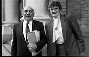 Mallow Hospital Court Case.   (S3)..1989..08.05.1989..05.08.1989..8th May 1989..After their hearing in the High Court in relation to The Mallow Hospital case,Mr Joe Sherlock TD and Mrs Terri Hogan,member of thr Co-ordinating committee are pictured leaving the Four Courts in Dublin..Unfortunately we do not have any information in our archive as to the cause or result of the case.