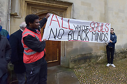 © Licensed to London News Pictures. 09/03/2016 Outside all souls college. Rhodes must fall demonstration and march through Oxford. Protest outside Oriel College followed by a march through the streets of Oxford. Photo credit : MARK HEMSWORTH/LNP