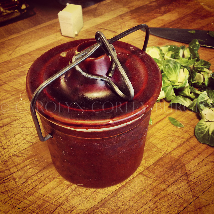 vintage ceramic crock filled with bacon fat