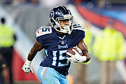NASHVILLE, TN - DECEMBER 30:  Darius Jennings #15 of the Tennessee Titans returns a kick off during a game against the Indianapolis Colts at Nissan Stadium on December 30, 2018 in Nashville, Tennessee.  The Colts defeated the Titans 33-17.   (Photo by Wesley Hitt/Getty Images) *** Local Caption *** Darius Jennings