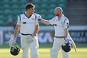 Yorkshire's Will Rhodes and Yorkshire's Adam Lyth walk back to the pavilion at the end of the second days play during the Specsavers County Champ Div 1 match between Somerset County Cricket Club and Yorkshire County Cricket Club at the County Ground, Taunton, United Kingdom on 16 May 2016. Photo by Graham Hunt.