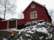 Gammal bebyggelse på Åsöberget i Stockholm