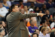 Sep 21, 2013; Phoenix, AZ, USA; Phoenix Mercury head coach Russ Pennell reacts from the sidelines in the game against the Los Angeles Sparks at US Airways Center. The Sparks defeated the Mercury 82-73. Mandatory Credit: Jennifer Stewart-USA TODAY Sports