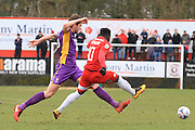 Cameron Burgess and Luke Wanadio during the Vanarama National League match between Welling United and Cheltenham Town at Park View Road, Welling, United Kingdom on 5 March 2016. Photo by Antony Thompson.