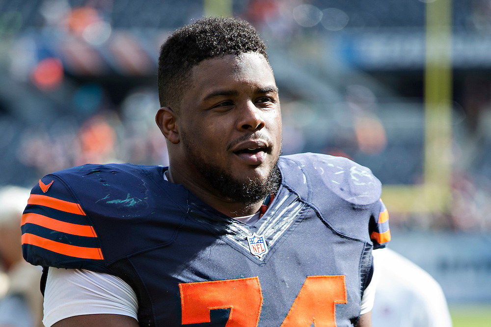 CHICAGO, IL - SEPTEMBER 13:  Jermon Bushrod #74 of the Chicago Bears walks off the field after a game against the Green Bay Packers at Soldier Field on September 13, 2015 in Chicago, Illinois.  The Packers defeated the Bears 31-23.  (Photo by Wesley Hitt/Getty Images) *** Local Caption *** Jermon Bushrod