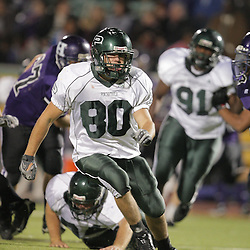 07 November 2008: Ponchatoula Green Wave LB Corey Morse (#80)  The Ponchatoula Green Wave defeated District 7-5A rival the Hammond Tornados 34-13 at Strawberry Stadium in Hammond, LA . The Green Wave with the win clinched a spot in the 2008 playoffs.