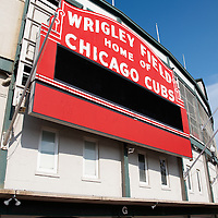 Image of Wrigley Field Sign. Wrigley Field is home to the Chicago Cubs and is also referred to as The Friendly Confines. High resolution stock photos and prints are available.