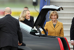 31.10.2012, Airport Pleso, Zagreb, CRO, Staatsbesuch, US Außenministerin Hillary Clinton in Croatien, im Bild US Außenministerin Hillary Clinton bei Ihrer Ankunft am Fughafen in Zagreb // Secretary of State Hillary Clinton arrived on her first official visit to Croatia, According to the protocol she will meet with President Ivo Josipovic, Prime Minister Zoran Milanovic and Foreign and European Affairs minister Vesna Pusic, and they will talk about the role of Croatia as an ally in NATO, and its entry to the EU next year, and economic relations between the two countries, Airport Pleso, Zagreb, Croatia on 2012/10/31. EXPA Pictures © 2012, PhotoCredit: EXPA/ Pixsell/ Goran Jakus..***** ATTENTION - OUT OF CRO, SRB, MAZ, BIH and POL *****