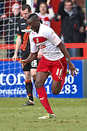 Picture by David Horn/Focus Images Ltd +44 7545 970036.16/03/2013.Lucas Akins of Stevenage celebrates scoring his side's fourth goal during the npower League 1 match at the Lamex Stadium, Stevenage.