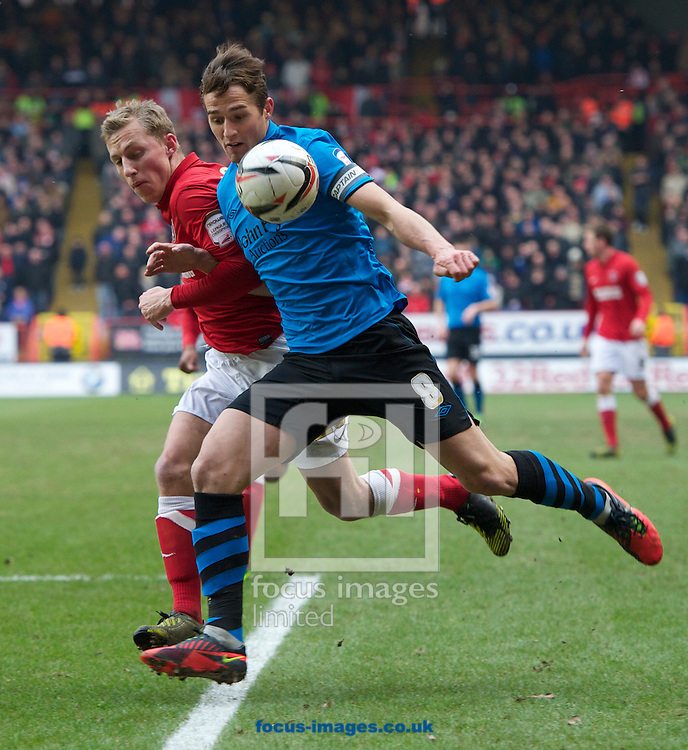 Picture by Alan Stanford/Focus Images Ltd +44 7915 056117.23/02/2013.Chris Solly of Charlton Athletic and Chris Cohen of Nottingham Forest during the npower Championship match at The Valley, London.