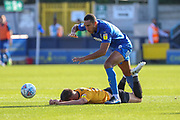 AFC Wimbledon defender Terell Thomas (6) battles for possession during the EFL Sky Bet League 1 match between AFC Wimbledon and Bristol Rovers at the Cherry Red Records Stadium, Kingston, England on 21 September 2019.