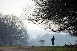 © Licensed to London News Pictures. 02/04/2014. Richmond, UK. A man jogs.  Visitors to Richmond Park had low visibility today April 2nd 2013. High levels of air pollution are set to spread across England and are expected  to get worse. Photo credit : Stephen Simpson/LNP