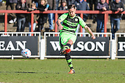 Forest Green's Darren Carter strikes a free kick during the Vanarama National League match between Bromley FC and Forest Green Rovers at Hayes Lane, Bromley, United Kingdom on 28 March 2016. Photo by Shane Healey.
