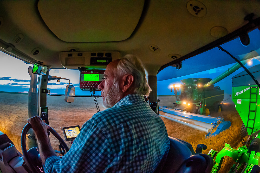 Farmer Gary Schields drives a tractor pulling a grain wagon, as a combine harvester unloads it's grain into the wagon, while on the move, during the wheat harvest, Schields & Sons, Goodland, Kansas USA. Machine Sync uses GPS signals and automation technology to synchronize the combine and tractor pulling the grain wagon.