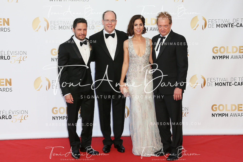 MONTE-CARLO, MONACO - JUNE 11:  (L-R) Nick Wechler, Prince Albert II of Monaco, Ana Ortiz and Jeff Perry attend the Closing Ceremony and Golden Nymph Awards of the 54th Monte Carlo TV Festival on June 11, 2014 in Monte-Carlo, Monaco.  (Photo by Tony Barson/FilmMagic)