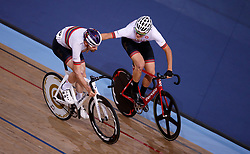 Andy Tennant (left) and teammate Chris Latham during the men's madison time trial during Round One of the 2017/18 Revolution Series at Lee Valley Velo Park, London.