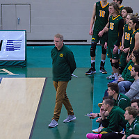 Head Coach, Greg Barthel during the Men's Volleyball Home Game vs Trinity Western  on October 28 at the CKHS University of Regina. Credit Matt Johnson/Arthur Images