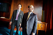 Deutsche Bank's economists Joe LaVorgna and  David Bianco (left) after a press briefing about their view on the fiscal cliff. They believe the upcoming sequestration can be good for the economy.