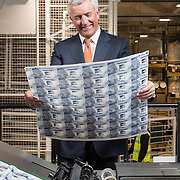 David Duffy CEO Clydesdale Bank at DeLaRue, Gateshead to see the new £5 polymer notes with his signature on it.  Picture Robert Perry 10th Feb 2016<br /> <br /> Please credit photo to Robert Perry<br /> <br /> Image is free to use in connection with the promotion of the above company or organisation. 'Permissions for ALL other uses need to be sought and payment make be required.<br /> <br /> <br /> Note to Editors:  This image is free to be used editorially in the promotion of the above company or organisation.  Without prejudice ALL other licences without prior consent will be deemed a breach of copyright under the 1988. Copyright Design and Patents Act  and will be subject to payment or legal action, where appropriate.<br /> www.robertperry.co.uk<br /> NB -This image is not to be distributed without the prior consent of the copyright holder.<br /> in using this image you agree to abide by terms and conditions as stated in this caption.<br /> All monies payable to Robert Perry<br /> <br /> (PLEASE DO NOT REMOVE THIS CAPTION)<br /> This image is intended for Editorial use (e.g. news). Any commercial or promotional use requires additional clearance. <br /> Copyright 2016 All rights protected.<br /> first use only<br /> contact details<br /> Robert Perry     <br /> 07702 631 477<br /> robertperryphotos@gmail.com<br />        <br /> Robert Perry reserves the right to pursue unauthorised use of this image . If you violate my intellectual property you may be liable for  damages, loss of income, and profits you derive from the use of this image.