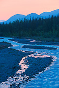 Deasadeash River at dawn and the Kluane Ranges, the easternmost of the St Elias Mountains. <br />
