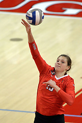 17 October 2015:  Ashley Rosch(15) strikes at the ball during an NCAA women's volleyball match between the Southern Illinois Salukis and the Illinois State Redbirds at Redbird Arena in Normal IL (Photo by Alan Look)