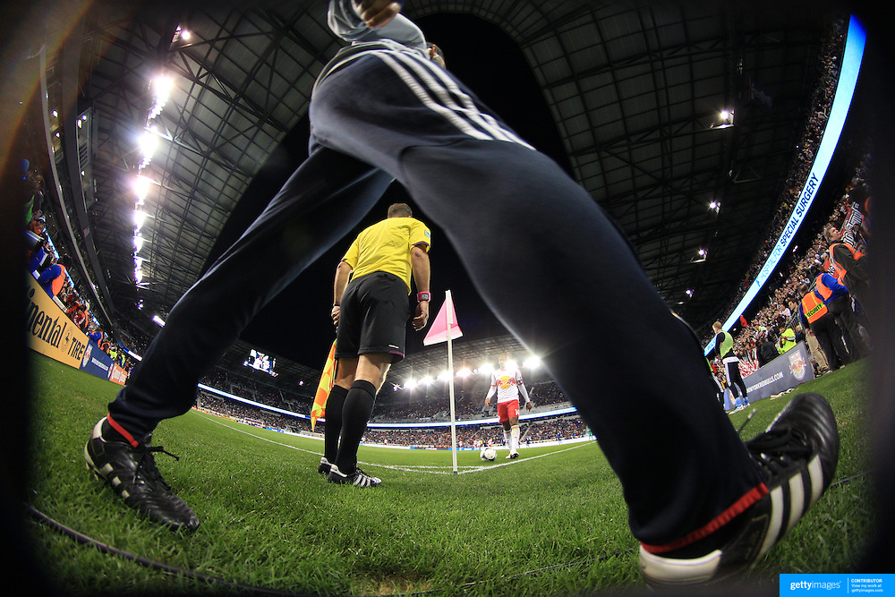A linesman in action during the New York Red Bulls V Chicago Fire, Major League Soccer regular season match at Red Bull Arena, Harrison, New Jersey. USA. 27th October 2013. Photo Tim Clayton