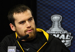 June 10, 2011; Vancouver, BC, CANADA; Boston Bruins left wing Daniel Paille speaks at a press conference before game five of the 2011 Stanley Cup Finals against the Vancouver Canucks at Rogers Arena. Mandatory Credit: Jason O. Watson / US PRESSWIRE