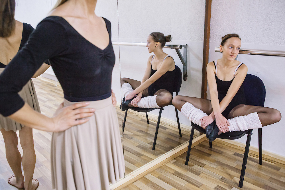 Etrita Abdullahu, a ballet student at the Kosovo Ballet during the daily rehearsal. The Kosovo Ballet is the national ballet from Republic of Kosovo. The first troupe was formed in 1972, but later it was banned during the years of conflict by the Serbian authority. In 2001, after many years of absence, the ballet activity was restored.