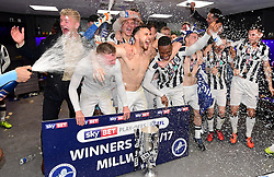 Free to use courtesy of Sky Bet - Millwall players celebrate winning promotion to the Sky Bet Championship  - Mandatory by-line: Joe Meredith/JMP - 20/05/2017 - FOOTBALL - Wembley Stadium - London, England - Bradford City v Millwall - Sky Bet League One Play-off Final