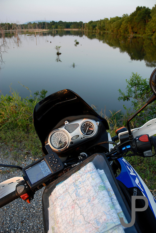 View from seat of 2002 BMW F650GS Dakar looking over Little River in central Oklahoma.