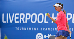 LIVERPOOL, ENGLAND - Sunday, June 21, 2015: Ana Bodgan (ROM) during Day 4 of the Liverpool Hope University International Tennis Tournament at Liverpool Cricket Club. (Pic by David Rawcliffe/Propaganda)