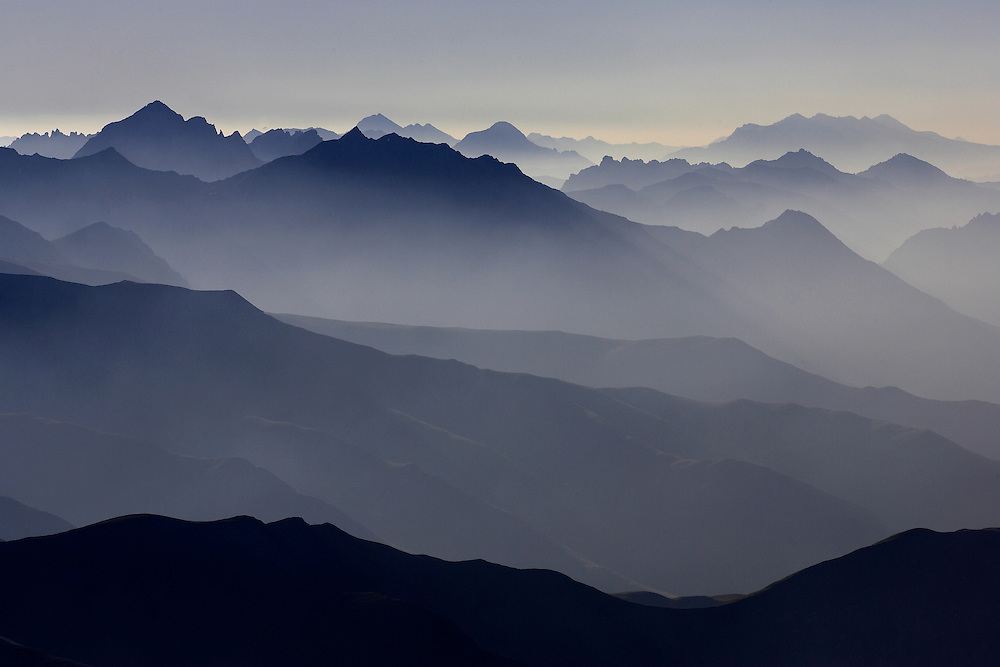Travel. Editorial. Morning vue of the mountains, Maurienne, Savoie, France