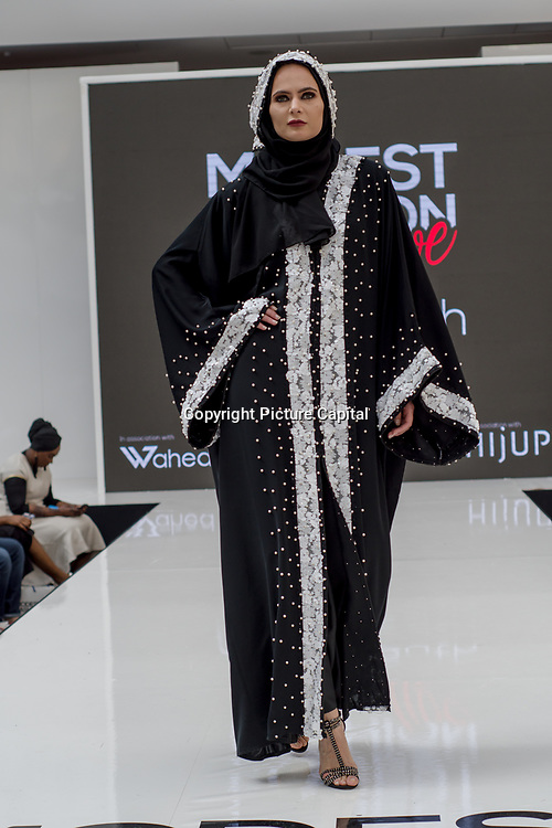 AbayaButh showcases it latest collection Modest and beautiful at the Modest and Beautiful a Modest Fashion Live at The Atrium in Westfield London on June 24, 2018.
