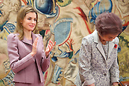 Queen Sofia of Spain and Princess Letizia of spain attend the Delivery of the decorations of the Civil Order of Social Solidarity at Zarzuela Palace on January 14, 2014 in Madrid