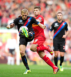 LIVERPOOL, ENGLAND - Saturday, October 5, 2013: Liverpool's captain Steven Gerrard in action against Crystal Palace during the Premiership match at Anfield. (Pic by David Rawcliffe/Propaganda)