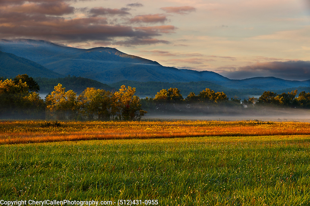 Cade's Cove in the Great Smokey Mountains with fall foliage