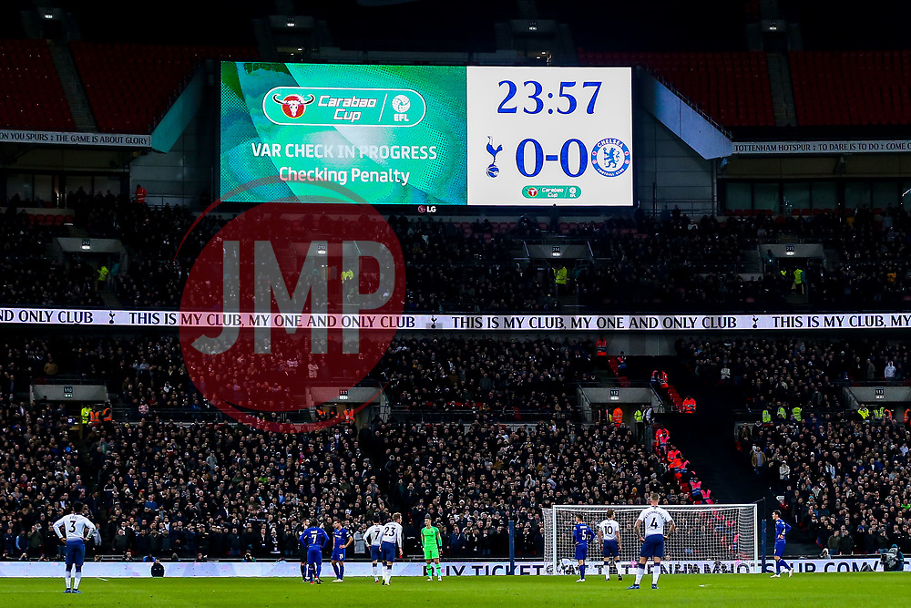 VAR is used to decide whether Tottenham Hotspur should have a penalty - Mandatory by-line: Robbie Stephenson/JMP - 08/01/2019 - FOOTBALL - Wembley Stadium - London, England - Tottenham Hotspur v Chelsea - Carabao Cup