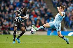 Moussa Sissoko of Newcastle United is challenged by James Milner of Manchester City - Photo mandatory by-line: Rogan Thomson/JMP - 07966 386802 - 29/10/2014 - SPORT - FOOTBALL - Manchester, England - Etihad Stadium - Manchester City v Newcastle United - Capital One Cup Fourth Round.