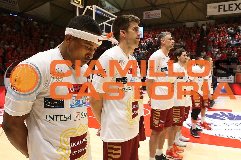 Team Umana Reyer Venezia<br /> The Flexx Pistoia Umana Reyer Venezia<br /> Lega Basket Serie A 2016/2017<br /> Playoff Quarti di finale Gara 4<br /> Pistoia 19/05/2017<br /> Foto Ciamillo-Castoria