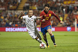 October 6, 2017 - Alicante, Spain - Isco (Real Madrid) and Ergys Kace during the qualifying match for the World Cup Russia 2018 between Spain and Albaniaat the Jose Rico Perez stadium in Alicante, Spain on October 6, 2017. (Credit Image: © Jose Breton/NurPhoto via ZUMA Press)