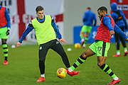 Forest Green Rovers Charlie Cooper(15) and Forest Green Rovers Dan Wishart(17) warming up during the EFL Sky Bet League 2 match between Exeter City and Forest Green Rovers at St James' Park, Exeter, England on 26 December 2017. Photo by Shane Healey.
