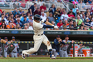 Trevor Plouffe #24 of the Minnesota Twins connects for a home run against the Detroit Tigers on June 15, 2013 at Target Field in Minneapolis, Minnesota.  The Twins defeated the Tigers 6 to 3.  Photo: Ben Krause