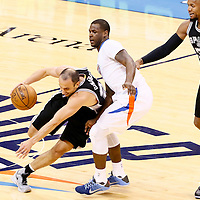 06 May 2016: San Antonio Spurs guard Manu Ginobili (20) drives past Oklahoma City Thunder guard Dion Waiters (3) during the San Antonio Spurs 100-96 victory over the Oklahoma City Thunder, during Game Three of the Western Conference Semifinals of the NBA Playoffs at the Chesapeake Energy Arena, Oklahoma City, Oklahoma, USA.