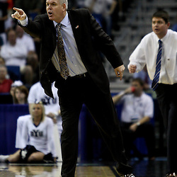 Mar 24, 2011; New Orleans, LA; Brigham Young Cougars head coach David Rose against the Florida Gators during an overtime in the semifinals of the southeast regional of the 2011 NCAA men's basketball tournament at New Orleans Arena. Florida defeated BYU 83-74.   Mandatory Credit: Derick E. Hingle