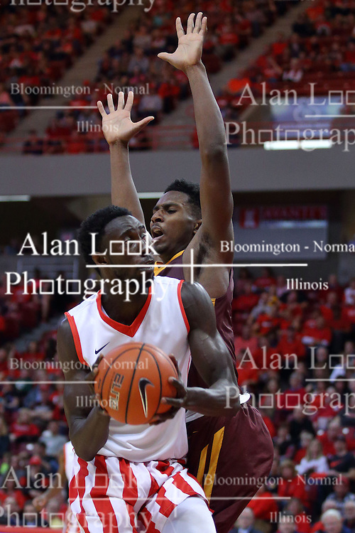 """19 February 2017:  Daouda """"David"""" Ndiaye (4) during a College MVC (Missouri Valley conference) mens basketball game between the Loyola Ramblers and Illinois State Redbirds in  Redbird Arena, Normal IL"""
