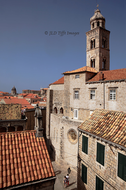 View down into the city of Dubrovnik from the top of its city walls.