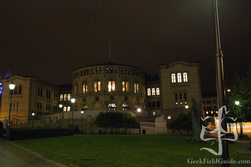 Another shot of the Stortinget at night.