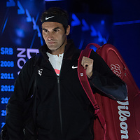 Roger Federer of Switzerland ahead of his championship match of the 2018 Australian Open on day 14 at Rod Laver Arena in Melbourne, Australia on Sunday afternoon January 28, 2018.<br /> (Ben Solomon/Tennis Australia)