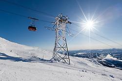 THEMENBILD - Gondelbahn (Kabinbanan), aufgenommen am Freitag, 16. März 2018. Die alpinen Ski- Weltmeisterschaften 2019 finden von 05. bis 17. Februar in Aare /Schweden statt // Gondola lift (Kabinbanan), pictured on Tuesday, March 13, 2018. The Alpine Skiing World Championships 2019 will take place from 05 to 17 February in Aare. Sweden on 2017/03/16. EXPA Pictures © 2018, PhotoCredit: EXPA/ Johann Groder