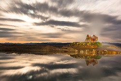 """""""Fly Geyser at Night 5"""" - Photograph of the famous man made Fly Geyser in Nevada, shot at night. A long exposure with clouds backlit by the moon created the bright look."""